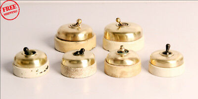 6 Pc Old Vintage Vitreous Brand Brass & Ceramic Electric Switches , Britain 9954