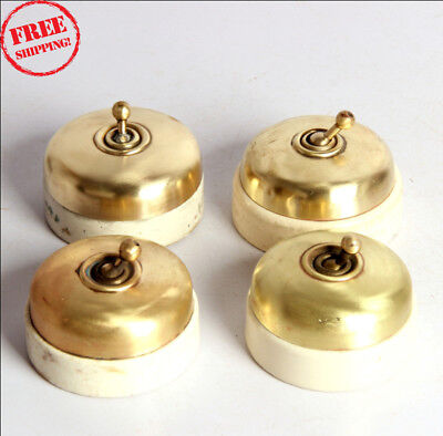 4 Pc Old Vintage Vitreous Brand Brass & Ceramic Electric Switches , Britain 9946