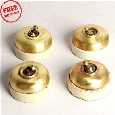 4 Pc Old Vintage Vitreous Brand Brass & Ceramic Electric Switches , England 9924