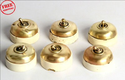 6 Pc Old Vintage Vitreous Brand Brass & Ceramic Electric Switches , England 9940