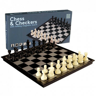 New 2 in 1 Travel Magnetic Chess and Checkers Game Set - 12.5 Inches