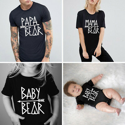 Mom Dad Kids Short Sleeve T-Shirt Family Matching Clothes Couple Lover Tee Tops