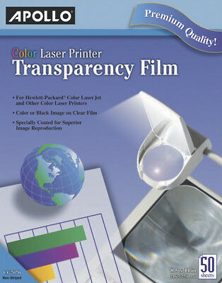 Apollo Color Laser Printer Transparency Film, 50 Sheets