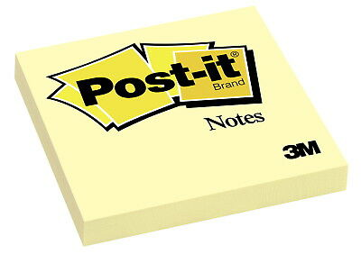3M Post-it Original Plain Notes, 3 x 3 Inches, Canary Yellow, Pack of 12