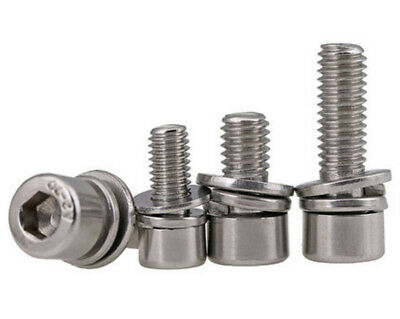 M2.5M3M4M5M6  304 SS Smooth  Head SEMS Socket Cap Screw Bolts with Washer