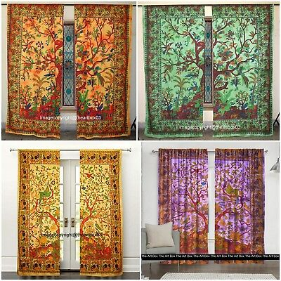Tree of Life Cotton Curtains Window Ethnic Indian Handmade Twin Size wall Decor