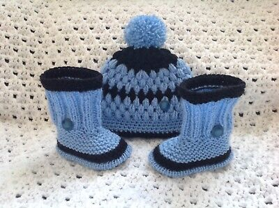 New other hand knitted baby boy booties and hand knitted hat-newborn