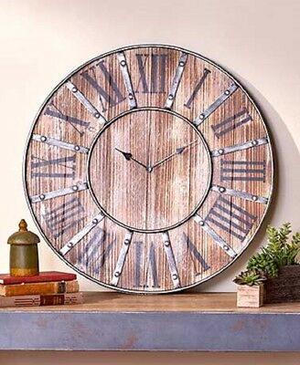 Large Vintage Style Farmhouse Wall Clock Oversized Rustic Distressed Wood Metal