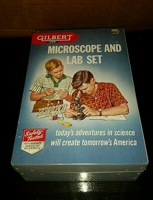 Vintage 1950's: GILBERT #13041-MICROSCOPE w/LAB SET, ALL ORIGINAL CASE VG