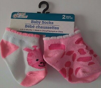New 2-Pack Girls Pink And White Animal Print Baby Socks Girls 6-12 Months (D1)