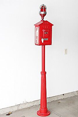 Antique Gamewell Fire Alarm Pull Box on Pedestal w/ Lock & key working condition