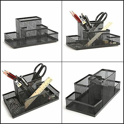 Mesh Desk Caddy with 4 Divided Compartments Workspace Organizer for Office Home