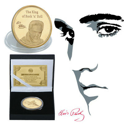 WR Gold Elvis Presley Coin Remember The King of Rock N Roll Free Gift Box