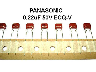 50 Panasonic 0.22uF .22uF 50V 5% ECQ-V Polyester Capacitors 5mm Lead Spacing