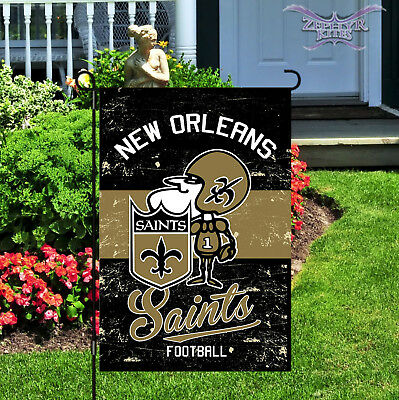 Vintage New Orleans Saints garden flag linen Saints flag NFL 14L3819VINT