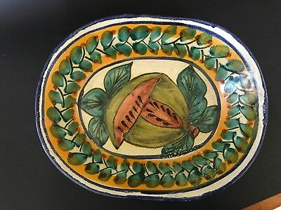 Vintage French Spain ceramic polychrome tin glaze hand painted figs oval dish