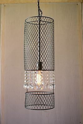 Industrial Vintage Style Metal Wire Cylinder Cage Pendant Lamp W/Gems,25.5''H