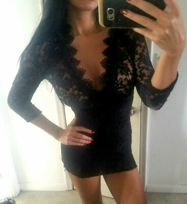 Women black lace long sleeve sexy mini dress Miami style