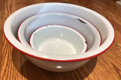 Lot 3 RUSTIC ANTIQUE ENAMEL METAL PORCELAIN BASIN Serving BOWL WHITE