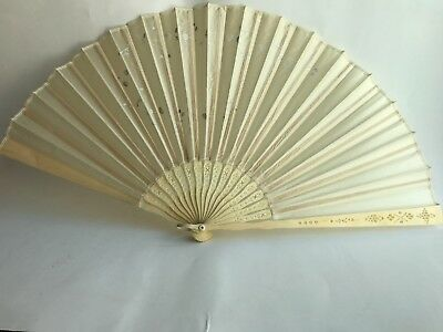 Antique Oriental Hand-Painted Fan on Silk and Sequins with Flowers