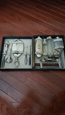 Vintage  11 Pieces  Sterling Silver   Vanity Dresser Set With Original Case