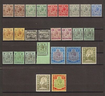 MALTA 1914-21 SG 69-88 Including All Shades MINT Cat £650