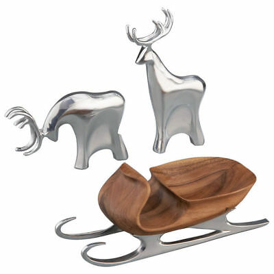 Nambe 3-Piece Christmas Set: Acacia Wood Sleigh with 2 Reindeers, New in Box