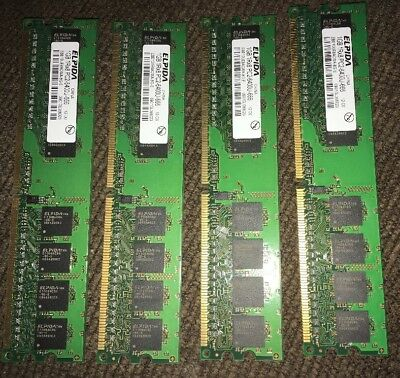 LOT of 4 ELPIDA 1GB 1Rx8 PC2-6400U-666 PC RAM