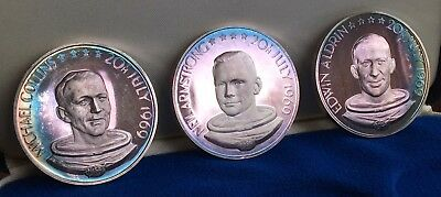 Man's First Landing On The Moon, Apollo 11, 1969. Three Silver Medals. 40mm