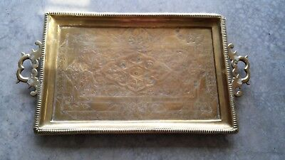 Vintage Mid Century Orate Etched Solid Large Square  Brass Tray with Handles