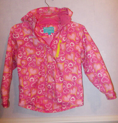 Girls Mountain Warehouse Pink Hearts detachable  anorak/Jacket 7-8 Yrs