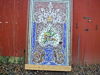 """Large Stain Glass Window Jewels Judaica Synagogue Brass Plaque 68 """" X 42 """""""