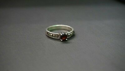 Antique Garnet With Marcasite Sterling Silver 925 Ring!! (#2174)