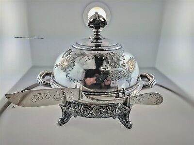 Antique Wilcox Quadruple Silverplate Etched Cow Milkmaid Butter Dish w/Insert