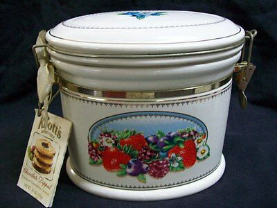 Vintage Knott's Berry Farm Oval Ceramic Hinged Canister/ Cookie Jar Berry Design
