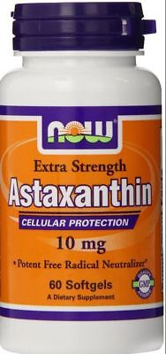 NOW Foods Astaxanthin 10 mg 60 Softgels $17. New Free Ship