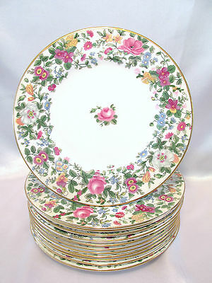 Crown Staffordshire England Thousand Flowers 7 Lunch, Dessert or Side Plates