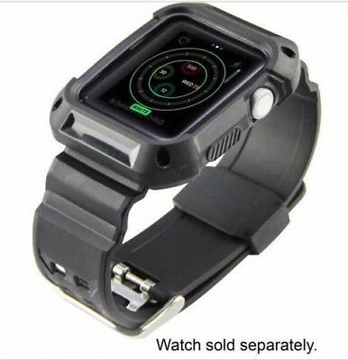 RUGGED Bumper Case And Band For Apple Watch 42mm Series 1/2 - Black - New