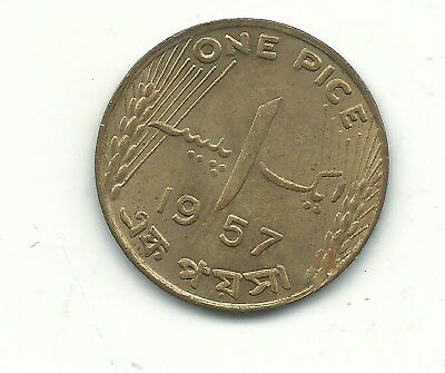 A Very Nice High Grade Au/unc 1957 Pakistan 1 Pice Coin-Dec759