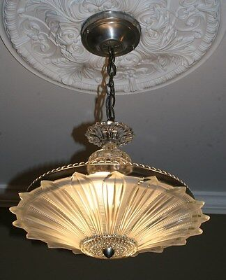 Antique frosted glass sunflower art deco light fixture ceiling chandelier