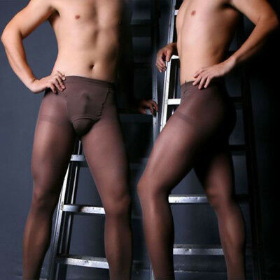 Men's sexy Pantyhose Lingerie Pouch Sheer Stocking Ultra-thin Tights Hosiery