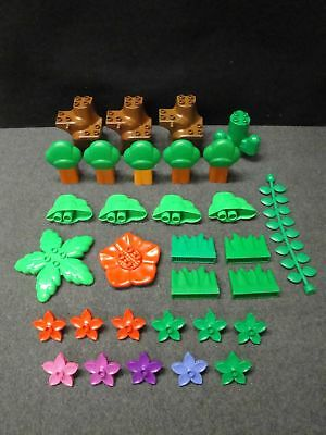 Lego Duplo Lot Of Greenery Tree Trunks Tops Cactus Flowers Grass +