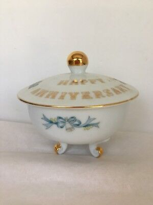 Sugar Bowl Lefton China Anniversary Footed Gold Trim Decals Bells Floral 6290 HP