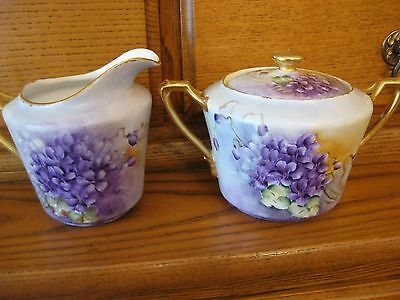 Hand Painted Violets Cream & Sugar~ KPM Signed