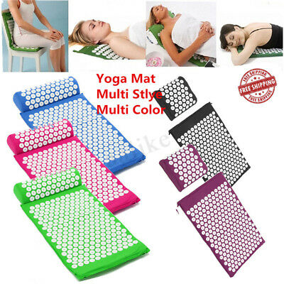 Massage Acupressure Mat Yoga Sit Lying Mats Release Pain Stress Relax + Pillow