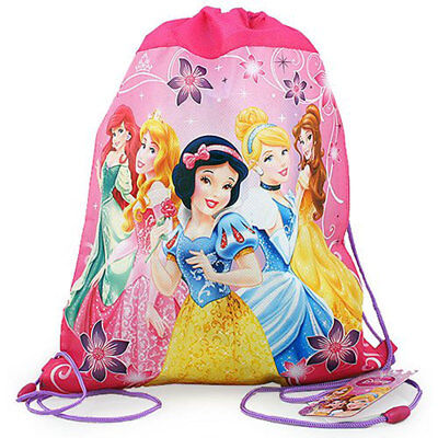 12 Disney Princess Non Woven Sling Bag Backpack Birthday Party Favors Pink NEW