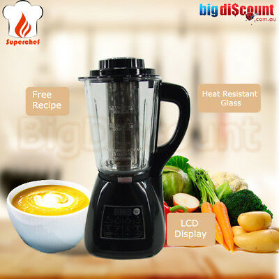 Soup Maker Glass Blender Hot Cold Food Processor Kettle Stainless Super Chef