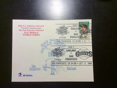 1989 Bay Bridge World Series Game 3 Lou Gehrig Double Stamped USPS Post Card