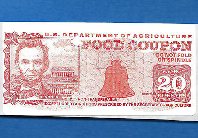Food Stamp Coupon Usda  $20.00  Sticker Red