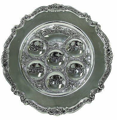 "Majestic Giftware SPTF12362BL1 Passover Seder Plate 12"" Silver Plated -1A15 065H"